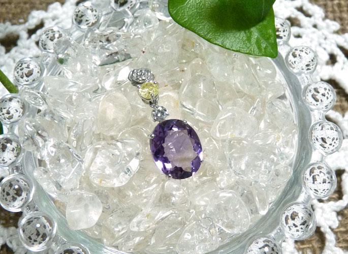 【ワイズマンバイオレット】アメジストとイエローダイヤとダイヤモンドのK18WGペンダント